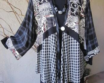 V Neck Jacket  with Hawaiian Fabric