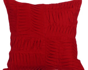 "Red Decorative Pillows Cover, 16""x16"" Cotton Linen Pillows Cover, Square Textured Pintucks Solid Color Pillowcases - Ripples Of The Heart"
