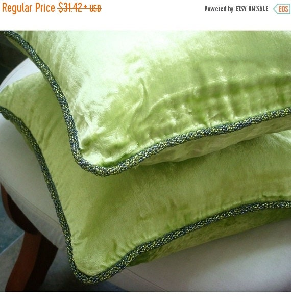 15% HOLIDAY SALE Decorative Throw Pillow Covers Accent Pillow Couch Pillows Bed Sofa Pillows 20x20 Lime Green Velvet Pillow Case with Bead C