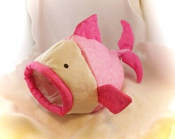 Pastel Pink Fishie Fish Snuggle Sleep Sack Bed for Hedgehogs and Pocket Pets