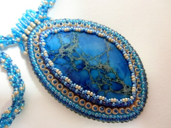 Blue sediment jasper bead embroidered necklace by Galeandra