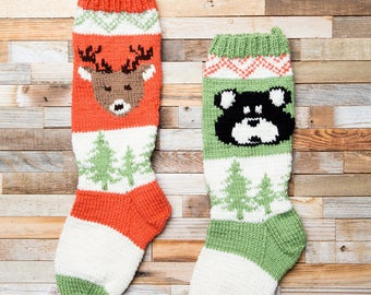 Deer, Christmas Stocking, Christmas Stocking Patterns, Christmas Stocking Design, Christmas Knitting, Forest Friends Collection, Forest