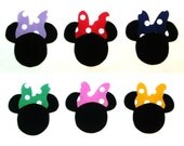 Set of 12 Iron-on Minnie Mouse Style w/Bow Cotton Fabric Appliques for Quilts Apparel Etc.