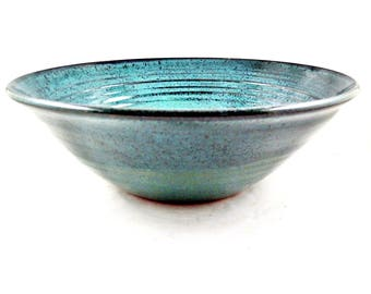 Large Teal blue serving bowl, Handmade stoneware pottery bowl in blue and green glaze - In stock 98 SB