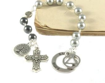 12 Step Prayer & Meditation Beads, Hematite, Recovery Symbols