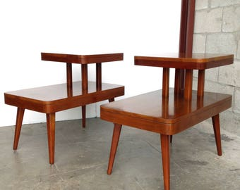 Mid Century Modern Step Side/End Tables 1950s Danish Vintage Deco