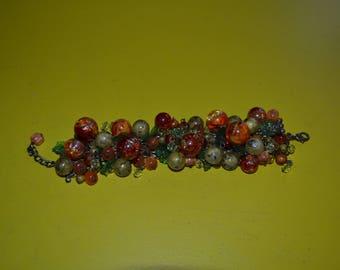 Vintage Beaded Bracelet, 60s, Multi Colorful Beads, Adjustible Length, Greens, Oranges