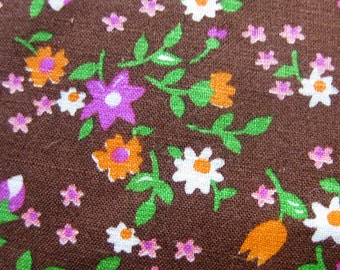 1960s Vintage Fabric - Small Print Floral Cotton Print - Magenta and Orange Flowers on Brown / 100% Cotton Yardage
