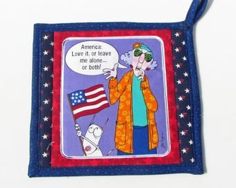 Maxine Patriotic design, fabric potholder, quilted potholder, cooking potholder, handmade potholder, kitchen potholder, insulated potholder