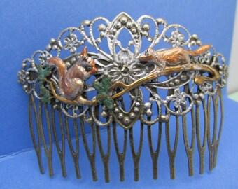 Squirrel hair comb Hair accessories bridesmaids gifts squirrels verdigris flower hair accessories