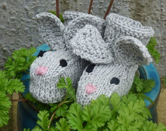 Baby EASTER KNITTING PATTERN - Baby Bunny Booties- 2 Sizes Newborn - 12 Mths - Baby Bootees, Boots, Shoes, perfect Baby Shower Gift