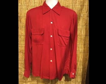Vintage 1950s gabardine flap pocket shirt