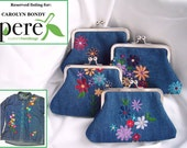 Reserved Listing for Carolyn Bondy - denim clutches - embroidered clutches - shirt bags - keepsake - kisslock clutch - personalized clutches