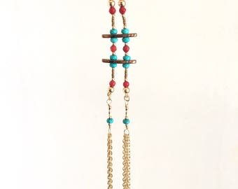 Coral with Turquoise Necklace and Earring Set