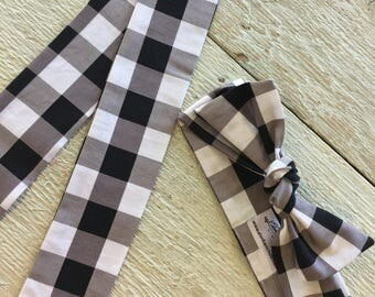 Knot Headband, Black, White Gingham Bow, Hair Accessories