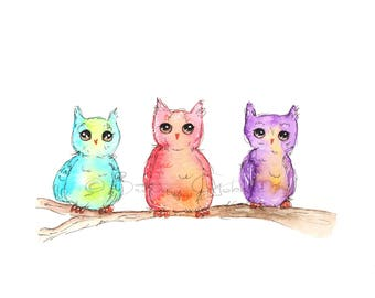 Quirky Owls Fine Art Print