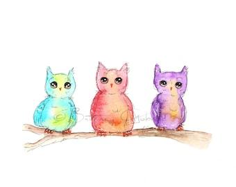 Quirky Owls Fine Art Print