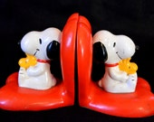 Vintage Snoopy Woodstock Bookends - 1972 - FREE SHIPPING