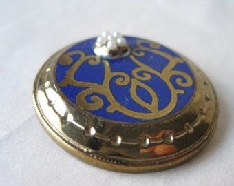 Blue Gold Pearl Brooch Enamel Round Vintage Pin
