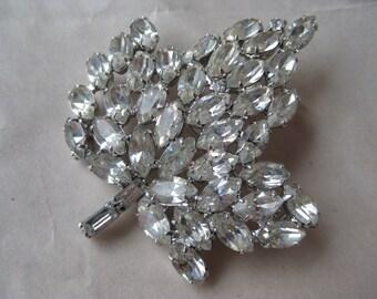 Maple Leaf Silver Rhinestone Brooch Clear Vintage Pin