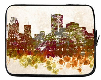 Laptop Computer Tablet sleeve Neoprene Made in USA 8, 10, 13, 15, 17 inch Design 46 City Cityscape L.Dumas