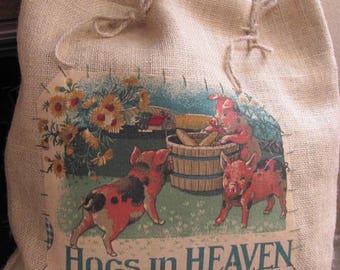 HOGS  in Heaven Farmhouse Pillow, Burlap Farm House Pigs Pillow, One of a Kind