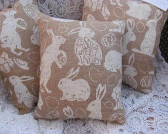 Plump Easter Bunny Rabbit Burlap Pillow, Happy Easter Decor D