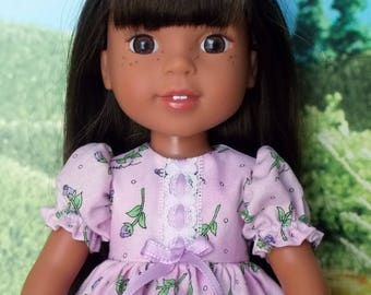 Rosebuds on Lavender Dress for 14.5 inch little girl dolls