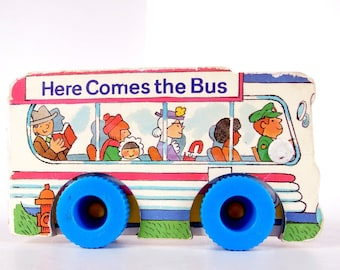 Vintage Children's Book 1980's Here Come the Bus, a Wheel Book