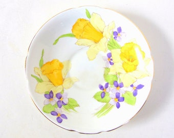 Vintage / Antique Hand Painted Stanley Daffodils Saucer with Violets