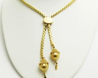Vintage Monet Necklace Adjustable Lariat Tassel Jewelry N7628