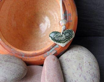 Heart of the Sea - Ocean Jasper and Lampwork Glass Necklace