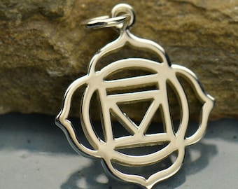 Root Chakra Necklace - Solid 925 Sterling Silver Pendant - Insurance Included