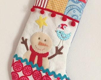 READY TO SHIP Christmas stocking snownan with bird