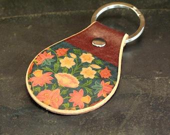 Flower botanical keychain. Leather. Stocking stuffer