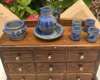 Dollhouse Miniature Gray and Blue Pitcher and Dishes