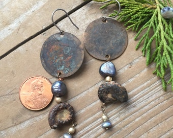 Primitive copper and fossil earrings with pearl