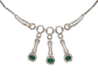 Antique Emerald Art Deco Necklace, Fine 1920s Vintage Statement Jewelry, Emerald Vintage Wedding Jewelry, Art Deco Jewellery