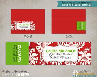 Christmas Damask Wrap Around Address Labels, Custom Holiday Sticker