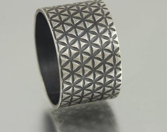 Textured Sterling Wide Ring Band - Size 7.5
