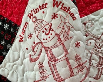 Quilted Warm Winter Wishes Redwork Table Runner . . . Embroidered SNOWMEN . . . A Hint if Vintage . . . Colors of Red and Black . . .