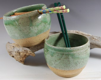 Pottery Rice Bowl Set, Meadow Green, Noodle Bowl!  Includes Chopsticks Handmade Serving