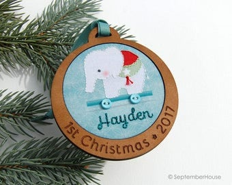 Baby's First Christmas Ornament Personalized Hand Embroidered Elephant Pull Toy Custom Holiday Keepsake 2017