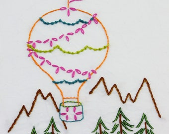 Hot Air Balloon Embroidery Design Hand Embroidery Design Balloon Pattern Up and Away