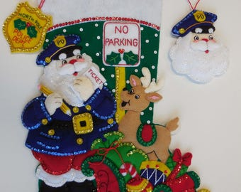 Finished Christmas Stocking with Ornament - Officer Santa - NEW DESIGN