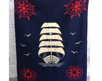 fuzzy nautical ship blanket / vintage bierderlack blanket / red white and blue reversible nautical fleece throw