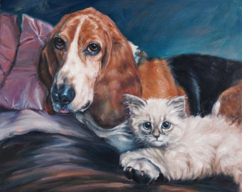 "BestPaws custom Pet Portrait oil painting, Cat painting, Dog painting, 16x20"" 2-pets"