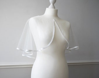 Tulle bridal bolero shrug cape with satin trim SHERBORNE