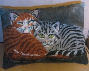 Vintage Cross Stitch Cat Pillow