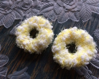 """Yellow Scrunchies, """"Daisy"""", Set of 2 Yellow and White Scrunchies, Crochet Hair Bands, Ponytail Holders, Fluffy Textured Baby Yarn Scrunchies"""